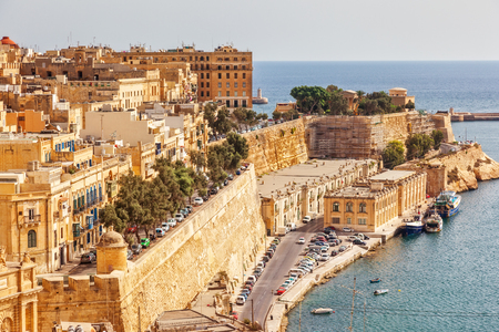 Stunning image of the Grand Harbour. Location place ancient city Valletta, Malta island, sightseeing Europe. Gorgeous day and picturesque scene. Popular tourist attraction. Beauty world. Stok Fotoğraf