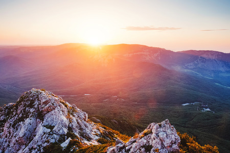 Scenic valley in morning light. Location Crimea, Crimean peninsula, Ukraine, Europe. Excellent adventure wallpapers. Discover the beauty of earth. Great photo of wild area. Concept of active tourism.