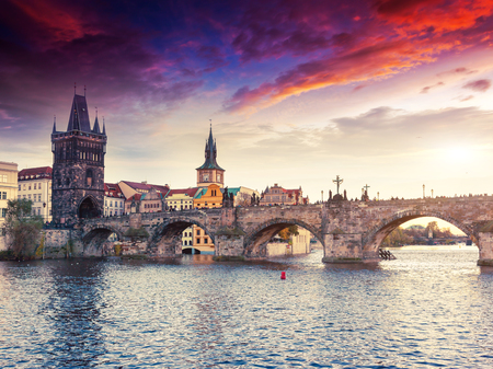 Stunning image of Charles bridge (Karluv Most) and lesser town bridge tower on river Vltava. Location place Prague, Czech Republic, sightseeing Europe. Popular tourist attraction. Beauty world. Stock Photo - 119505521