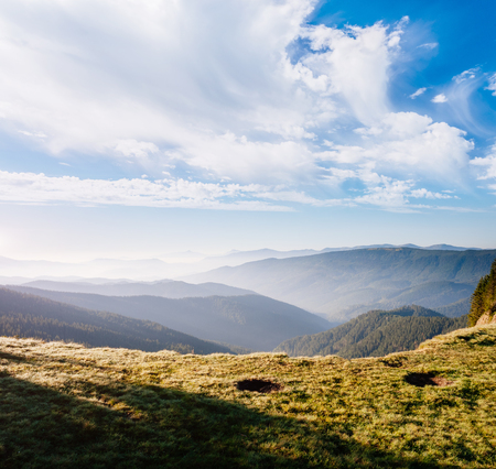 Great hills and picturesque scene of the alpine valley. Location place Carpathian, Ukraine, Europe. Wonderful summertime wallpaper. Awesome outdoor vacation. Explore the worlds beauty and wildlife. Stock Photo