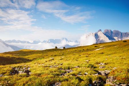 Striking image of rocky massif. Gorgeous day and picturesque scene. Location National Park Tre Cime di Lavaredo, Misurina, Dolomiti alp, Tyrol, Italy, Europe. Explore the worlds beauty and wildlife. Stock Photo