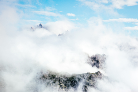 Foggy hill and magical scene of the alpine valley. Location Dolomiti, South Tyrol, Dramatic day and picturesque image. Ecology concept - climate change in the environment. Explore the worlds beauty.