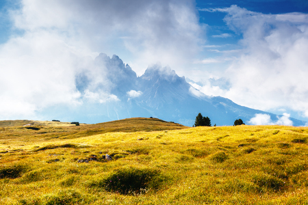 Distant summits of Cadini di Misurina. Gorgeous day and picturesque scene. Location National Park Tre Cime di Lavaredo, Misurina, Dolomiti alp, Tyrol, Italy, Europe. Explore the worlds beauty.