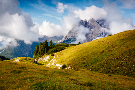 Excellent condition of rocky massif. Gorgeous day and picturesque scene. Location National Park Tre Cime di Lavaredo, Misurina, Dolomiti alp, Tyrol, Italy, Europe. Explore the worlds beauty.