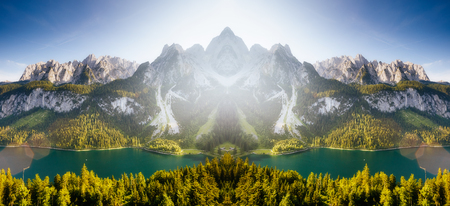Stunning image of alpine lake Vorderer Gosausee. Double exposure effect. Creative photo collage. Salzkammergut is a located in the Gosau Valley in Upper Austria. Dachstein glacier. Beauty world.