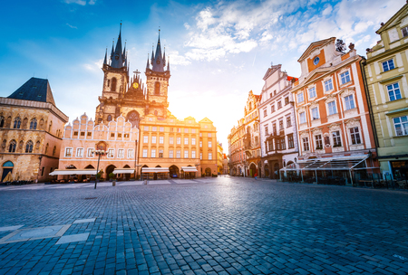 Fantastic scene of the Tyn Church (Tynsky chram) in sunlight. Popular tourist attraction. Location famous place ( heritage) old town square on Prague, Czech Republic, Europe. Beauty world. Stock Photo