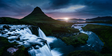 The Kirkjufell volcano the coast of Snaefellsnes peninsula. Fantastic and gorgeous scene. Location Kirkjufellsfoss, Iceland, sightseeing Europe. Unique place on earth. Explore the world's beauty. 스톡 콘텐츠 - 120347385