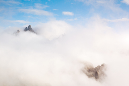 Foggy hill and magical scene of the alpine valley. Location Dolomiti, South Tyrol, Dramatic day and picturesque image. Ecology concept - climate change in the environment. Explore the world's beauty. Stock Photo - 120347386