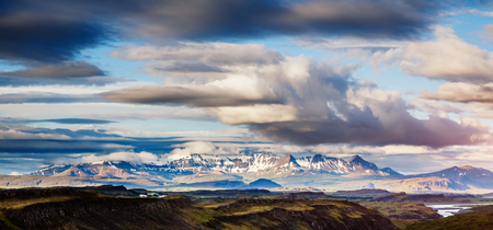 Magical valley glowing by sunlight. Perfect day and gorgeous morning scene. Typical icelandic panorama. Location Iceland, Europe. Save environment. Climate change. Discover the world of beauty.