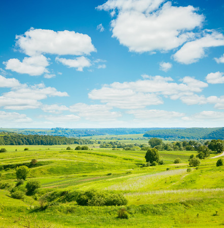 Rural scene white fluffy clouds. Fantastic and gorgeous day. Location place Ukraine, Europe. Wonderful summertime of wallpaper. Abstract seasonal background. Explore the worlds beauty and wildlife. Фото со стока