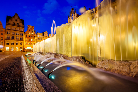 Stunning image of ancient city. Location place Wroclaw Market Square, Poland country, famous and cultural center of Europe. Historical capital of Silesia. Popular tourist attraction. Beauty world. 스톡 콘텐츠 - 120346669