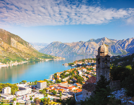 Great view of Kotor bay (Boka Kotorska) in sunny day. Picturesque and gorgeous scene. Location place famous resort Montenegro, Balkans, Europe. Popular tourist attraction. Explore the world's beauty.