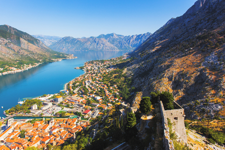 Great view of Kotor bay (Boka Kotorska) in sunny day. Picturesque and gorgeous scene. Location place famous resort Montenegro, Balkan peninsula, Adriatic sea, Europe. Explore the worlds beauty.