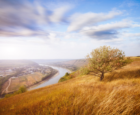 Inspiring image of the sinuous river flowing through hills. Picturesque and gorgeous morning scene. Location place Dnister canyon, Ukraine, Europe. Save environment. Explore the worlds beauty. Stock fotó
