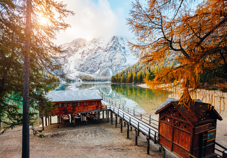 Scenic image of alpine lake Braies (Pragser Wildsee). Location Dolomiti, national park Fanes-Sennes-Braies, Italian Alps Europe. Fabulous wallpapers. Explore the beauty of earth. Tourism concept.