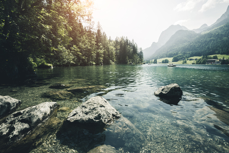 Famous lake Hintersee. Location resort Ramsau, National park Berchtesgadener Land, Upper Bavaria, Germany Alps, Europe. Scenic image of hiking concept. Adventure vacation. Explore the beauty of earth