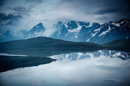 Lake Koruldi near Mt. Ushba. Location Upper Svaneti, Georgia country, Europe. Main Caucasian ridge. Scenic image of lifestyle hiking concept. Adventure trip vacation. Explore the beauty of earth.