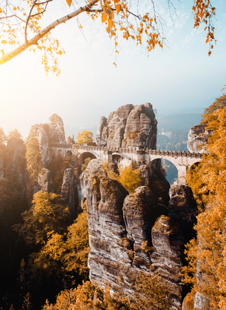 Scenic image of Elbe Sandstone Mountains. Location Saxony Switzerland national park, East Germany, Europe. Popular tourist attraction. Hiking concept. Adventure vacation. Discover the beauty of earth 版權商用圖片