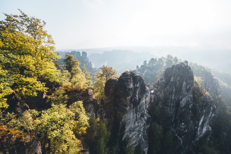 Scenic image of Elbe Sandstone Mountains. Location Saxony Switzerland national park, East Germany, Europe. Popular tourist attraction. Hiking concept. Adventure vacation. Discover the beauty of earth Banco de Imagens