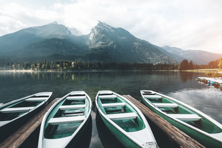 Famous lake Hintersee. Location resort Ramsau, National park Berchtesgadener Land, Upper Bavaria, Germany Alps, Europe. Scenic image of trek concept. Perfect wallpapers. Explore the beauty of earth.