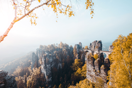 Scenic image of Elbe Sandstone Mountains. Location Saxony Switzerland national park, East Germany, Europe. Popular tourist attraction. Hiking concept. Adventure vacation. Discover the beauty of earth Stock Photo