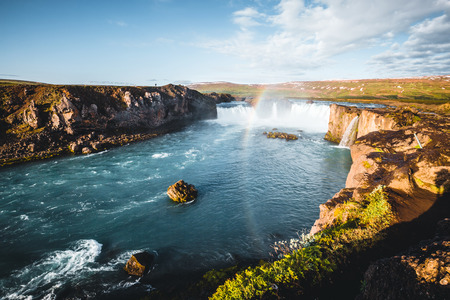 Fantastic view of powerful Godafoss cascade. Location Bardardalur valley, Skjalfandafljot river, Iceland, Europe. Scenic image of beautiful nature landscape. Amazing scenery. Discover beauty of earth.