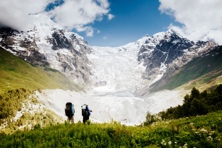 Grand icefall near Mt Tetnuldi. Location Upper Svaneti, Georgia country, Europe. Main Caucasian ridge. Scenic image of lifestyle hiking concept. Adventure trip vacation. Explore the beauty of earth. Imagens
