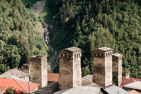 The mountain village of Adishi. Location Upper Svaneti, Georgia country, Europe. Main Caucasian ridge. Scenic image of lifestyle hiking concept. Adventure trip vacation. Explore the beauty of earth.