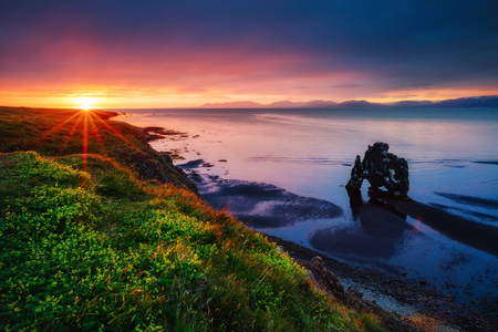 Peaceful view of the Atlantic ocean at dawn. Location place Hvitserkur, Vatnsnes peninsula, Iceland, Europe. Scenic image of beautiful nature landscape. Perfect scene. Discover the beauty of earth.