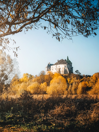 Picturesque postcard of Olesko castle. Location Lviv region, Ukraine, Europe. Popular tourist attraction. Adventure vacation. Scenic image of lifestyle hiking concept. Discover the beauty of earth.