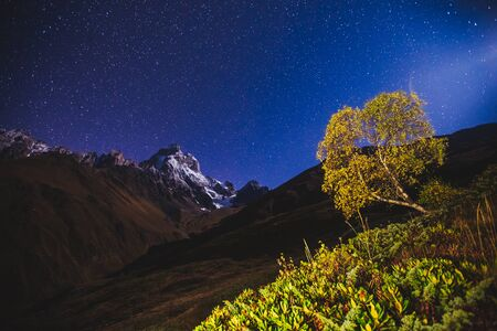 Scenic image of night sky over the peak Ushba. Location Mestia, Upper Svaneti, Georgia, Europe. Main Caucasian ridge. Astrophotography. Adventure vacations. Explore the beauty of earth and wildlife.  Stock fotó