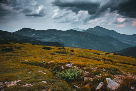 Location Carpathian national park, Ukraine, Europe. Moody weather in countryside. Scenic image of hiking concept. Awesome wallpapers. Idyllic adventure vacations. Discover the beauty of earth. 版權商用圖片