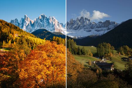 Majestic landscape in Santa Magdalena. Location Funes valley, Dolomiti Alps. Trentino, Italy, Europe. Image before and after. Original or retouch. Photo in half of editing process. Beauty of earth. Stockfoto