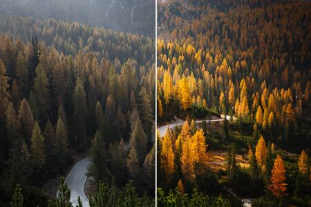 Beautiful scene of alps road. Location National Park Tre Cime di Lavaredo, Dolomiti alp, Italy, Europe. Image before and after. Original or retouch. Photo in half of editing process. Beauty of earth.