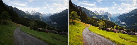 Perfect view of alpine village. Location Lauterbrunnen valley, Switzerland, Staubbach waterfall, Europe. Image before and after. Original or retouch, example of photo editing process. Beauty of earth.