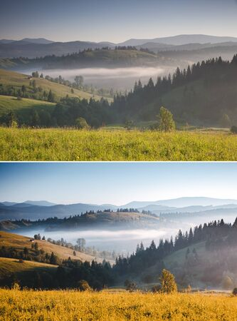Misty alpine highlands in sunny day. Location Carpathian Ukraine, Europe. Beautiful mountain landscape. Images before and after. Original or retouch, example of photo editing. Beauty of earth.