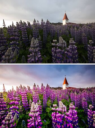 Amazing view of Vikurkirkja christian church in evening light. Location Vik i Myrdal village, Iceland, Europe. Images before and after. Original or retouch, example of photo editing.