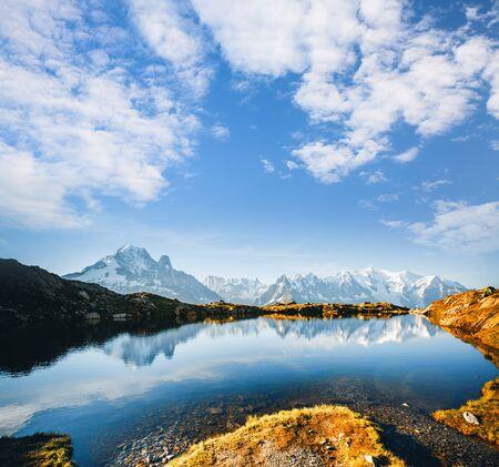 Picturesque Mont Blanc glacier with Lac Blanc. Location place Chamonix, Aiguilles Rouges, Graian Alps, France, Europe.