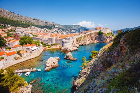 Aerial view at famous european travel destination city of Dubrovnik - Fort Bokar seen from south old walls on a sunny day. Location place Croatia, South Dalmatia, Europe.