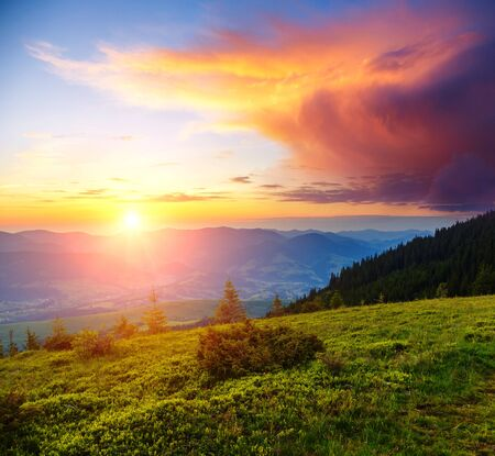 Picturesque sunset in the alpine highlands. Location place Carpathian mountains, Ukraine, Europe. Impressive summer scene in the morning light. Seasonal background. Discover the beauty of earth.