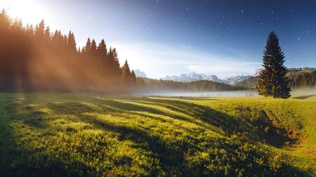 Misty summer night in the Durmitor National park. Location place village Zabljak, Montenegro, Balkans, Europe. Scenic image of the alpine valley. Magic astrophotography. Discover the beauty of earth.