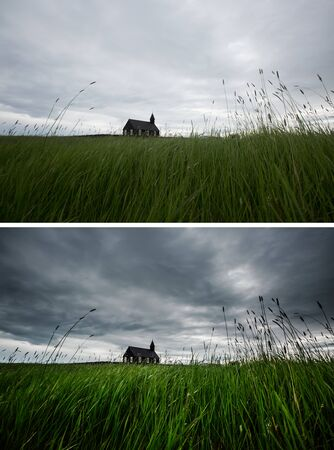 Great view of Budakirkja christian church. Location hamlet of Budir, Snafellsnes peninsula, Iceland, Europe. Beautiful nature landscape. Images before and after. Original or retouch. Beauty earth.