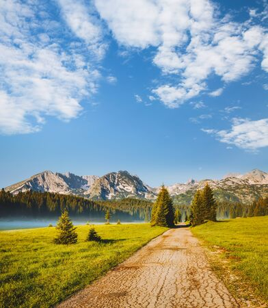 Idyllic alpine valley. Locations place Durmitor National park, village Zabljak, Montenegro, Balkans, Europe. Scenic image of attractive summer day in the countryside. Discover the beauty of earth.