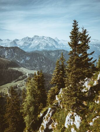 Scenic surroundings near the Konigsee lake. Location Berchtesgaden land Bavaria, Germany alp, Europe. Magic image of beautiful nature landscape. Amazing mountain view. Explore the beauty of earth. Stok Fotoğraf