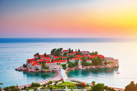 Idyllic view of the small islet . Location place Montenegro, Adriatic sea, Europe. Scenic image of most popular european travel destination. Summer vacation. Discover the beauty of earth.
