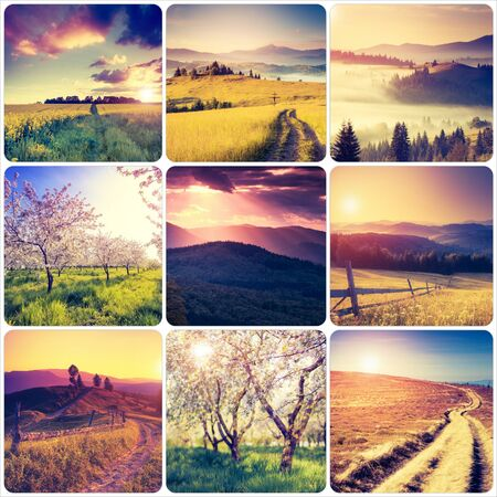 Creative collage of summer landscape with square images. Location Carpathian, Ukraine, Europe. Peaceful rural scene. Retro and vintage filter. toning effect. Discover the beauty of earth.