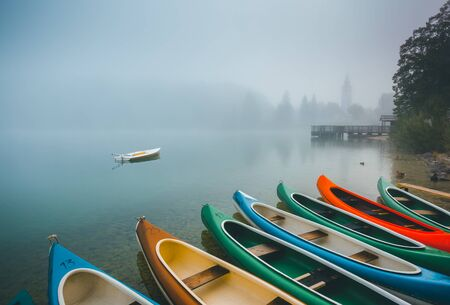 Great view of the Bohinj lake in foggy morning. Location famous Triglav national park, Bohinj valley, Julian Alps, Slovenia, Europe. Scenic image of concept of travel. Discover the beauty of earth. Banco de Imagens