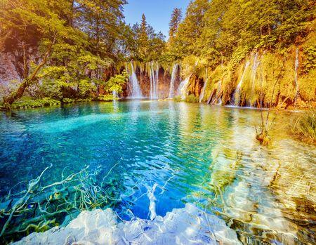 Vista tranquilla sulle cascate paradisiache del Parco nazionale dei laghi di Plitvice. Luogo di ubicazione della famosa località croata, Balcani, Europa. Destinazione turistica più popolare. Scopri la bellezza della terra. Archivio Fotografico