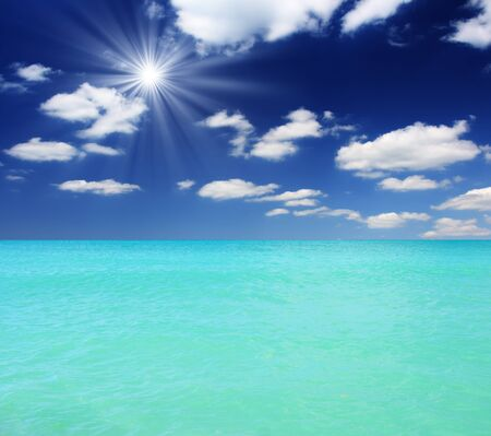 Seascape with beautiful clouds and turquoise ocean