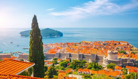 Fantastic view at famous european city of Dubrovnik on a sunny day. Location place Croatia, South Dalmatia, Europe. Mediterranean resort,  Discover the beauty of earth.